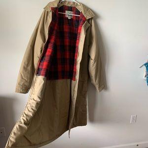 Other - Vintage plaid tan wool oversized utility jacket